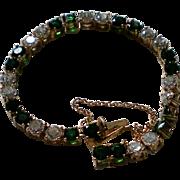 Green & Crystal CZ Tennis Bracelet