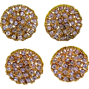 Gold tone Metal Rhinestone Encrusted Buttons