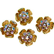 Gold tone Metal Flower Buttons with AB Rhinestones
