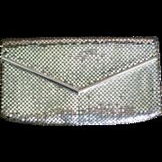 Whiting & Davis Silver Metal Mesh Envelope Clutch Purse