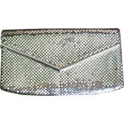 Whiting & Davis Silver Metal Mesh Envelope Clutch Purse