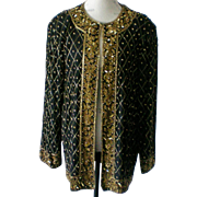 Silk Black & Gold Beaded Jacket by HI FASHIONS of California