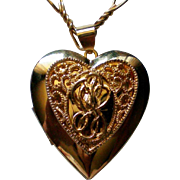 Puffed Heart Pendant Locket Necklace by Monet