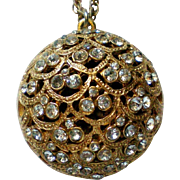 Rhinestone Studded Puffed Pendant Necklace by BSK