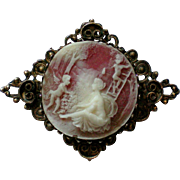 Molded Scenic Cameo Brooch with Antiqued Frame