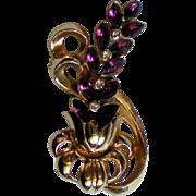 Lavender Rhinestone Gold Tone Floral Brooch