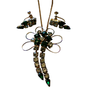 Emerald Green Rhinestone Dangle Brooch / Necklace and Earrings