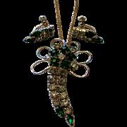 Emerald Green Rhinestone Dangle Brooch / Necklace and Earrings