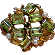 14K Gold Peridot and Pearl Ring