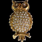 Rhinestone Gold tone Owl Pin