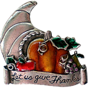 Pewter Enameled Thanksgiving Pin by AJMC