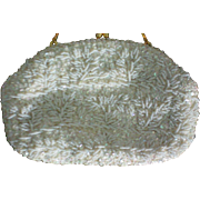 Richere White Beaded Sequin Clutch Evening Purse