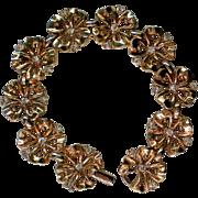 Trifari Pat Pend Flower Link Bracelet