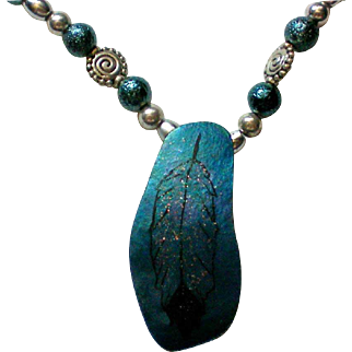 Southwestern Indian Eagle Feather Painted Gourd Necklace