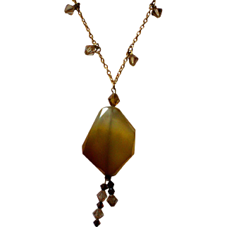 Artisan Faceted Stone Pendant Necklace