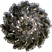 Stunning Smoky Gray and Clear Rhinestone Domed Brooch