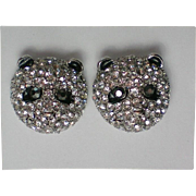 Baby Panda Bear Pave' Crystal Pierced Earrings