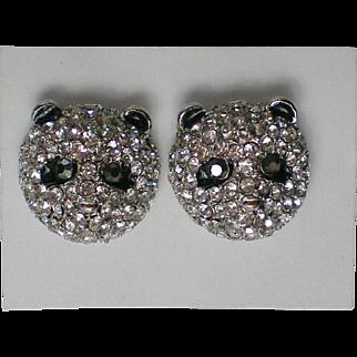 Baby Panda Pave' Crystal Pierced Earrings