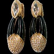 Swarovski Swan Dangle Crystal Clip Earrings