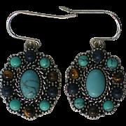 Vintage Chaps Pierced Multi Stone Earrings