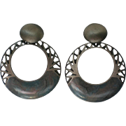 HUGE Edgar Berebi Drop Hoop Clip Earrings