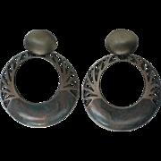 HUGE Edgar Berebi Drop Hoop Clip Earrings