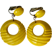 Lemon Yellow Retro Plastic Hoop Clip Earrings