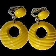 Lemon Yellow Retro Plastic Hoop Clip Earrings