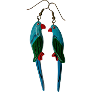 Large Carved Wooden Parrot Dangle Earrings