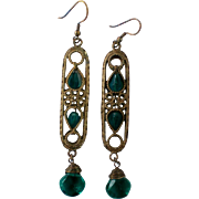 Egyptian Revival Brass Caged Glass Dangle Earrings
