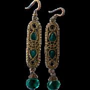 Egyptian Revival Brass Caged Glass Dangle Earrings