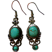 Native American Turquoise Dangle Earrings