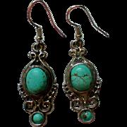 Native American Turquoise Dangle Earrings