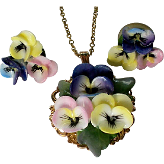 Murano Glass Pansy Necklace with Earrings