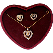 Sterling Vermeil JJT Heart Necklace with Matching Earrings