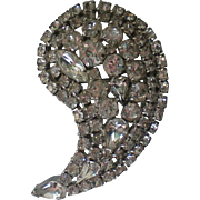 HUGE Comma Shaped Clear Rhinestone Brooch