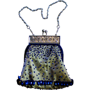 Small Blue Beaded Evening Bag