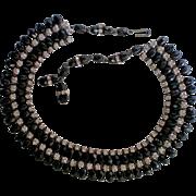 Sassy Black Bead Rhinestone Necklace