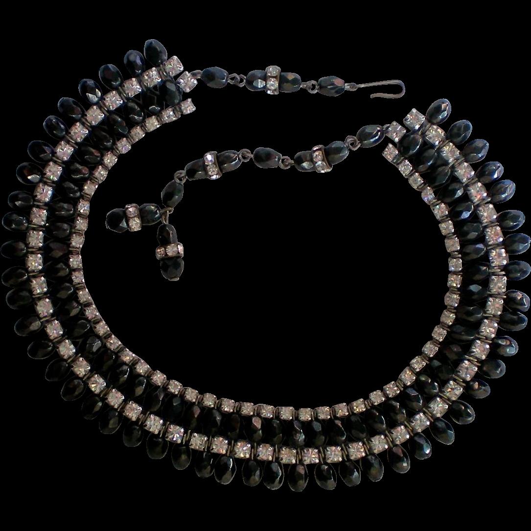 sassy black bead rhinestone necklace from manorsfinest on