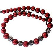 Christmas / Holiday Deep Red Beaded Marcasite Necklace
