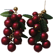 Holly Berry Beaded Holiday / Christmas Pierced Earrings