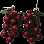 Holly Berry Beaded Holiday / Christmas Pierced Earrings