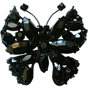 Jet Black Regency Butterfly Pin