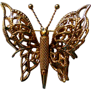 Monet Gold Tone Butterfly Pin