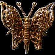 Monet Gold Tone Butterfly Pin