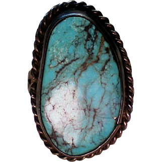 Large Turquoise and Silver Native American Southwestern Ring