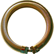 Egyptian Revival Slinky Gold tone Bib Collar Necklace