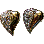 Gold Tone Rhinestone Accented Heart Earrings