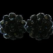 Laguna Black Bead Clip Earrings