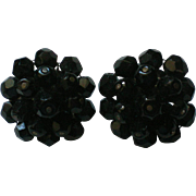 Laguna Black Bead Clip Earrings